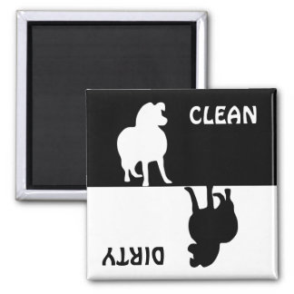 Dirty Clean Rough Collie dog dishwasher magnet