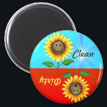 """Dirty Clean Sunflower Dishwasher Status Magnet<br><div class=""""desc"""">&quot;Are those dishes dirty or clean?&quot; Look to the sunflower, he will answer your question. This magnet features a smiling sunflower on the clean side. On the other side he is embarrassed at the dirty dishes. A cute and fun way to tell which batch of dishes are fit to be...</div>"""
