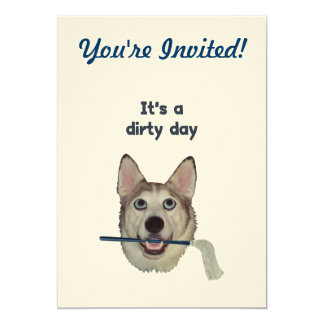 Dirty Day Dog Pee Humor 5x7 Paper Invitation Card
