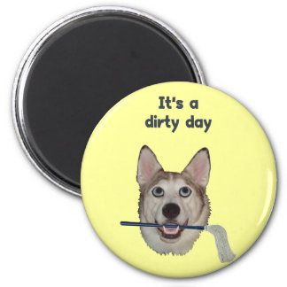 Dirty Day Dog Pee Humor 2 Inch Round Magnet