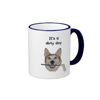Dirty Day Dog Pee Humor Ringer Coffee Mug