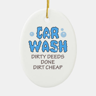 DIRTY DEEDS DONE DIRT CHEAP Double-Sided OVAL CERAMIC CHRISTMAS ORNAMENT