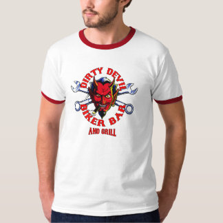 dirty devil biker bar n grill design t-shirt