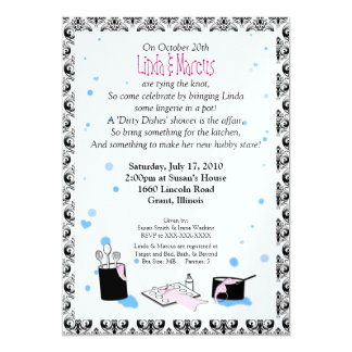 'Dirty Dishes' Bridal Shower Invitation (Lingerie)