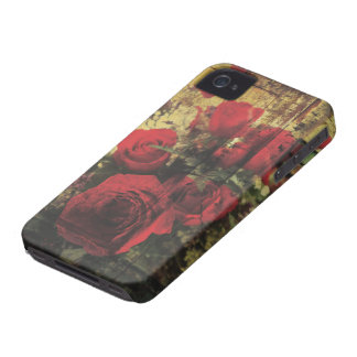 Dirty Distressed & Grungy Red Roses Bouquet iPhone 4 Case-Mate Case