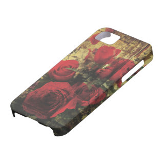Dirty Distressed & Grungy Red Roses Bouquet iPhone SE/5/5s Case