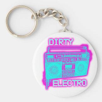 DIRTY ELECTRO dance club DJ girls an guys neon Basic Round Button Keychain