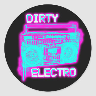 DIRTY ELECTRO dance club DJ girls an guys neon Round Sticker