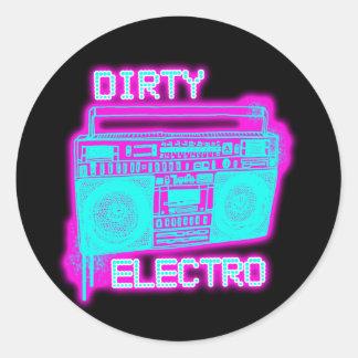 DIRTY ELECTRO ROUND STICKER