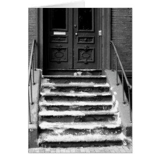 Dirty Gritty Doorway Steps B&W Blank Greeting Card