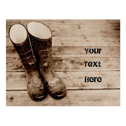 Dirty Gumboots on the Porch Postcard