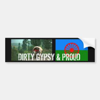DIRTY GYPSY & PROUD BUMPER STICKER CAR BUMPER STICKER