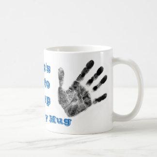 Dirty handprint mug,  mechanic,forensics,newspaper classic white coffee mug