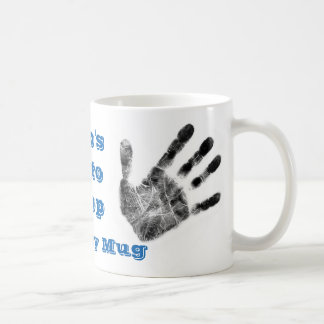 Dirty handprint mug,  mechanic,forensics,newspaper coffee mug