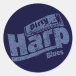Dirty Harp Blues Classic Round Sticker