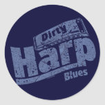 Dirty Harp Blues Round Stickers