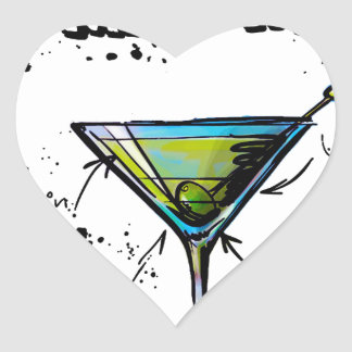 Dirty Martini Cocktail Recipe Heart Sticker