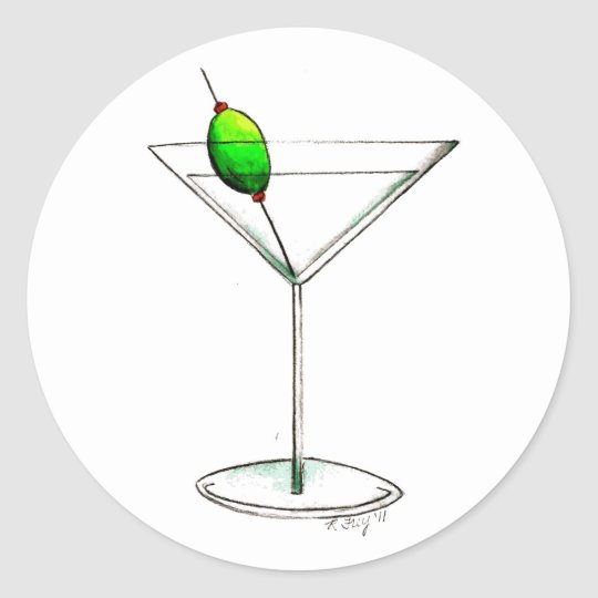 Dirty Martini W Olive Cocktail Glass Mixed Drink Classic Round