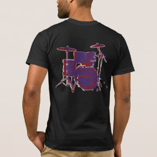 dirty red & blue rock drums on black T-Shirt