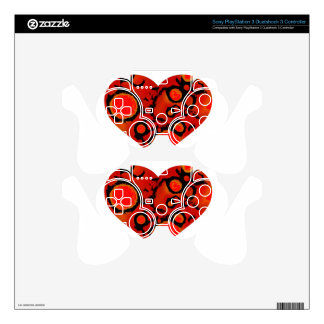 dirty red heart PS3 controller decal