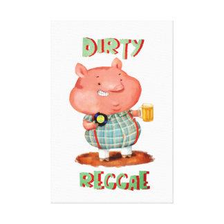 Dirty Reggae Pig Stretched Canvas Print