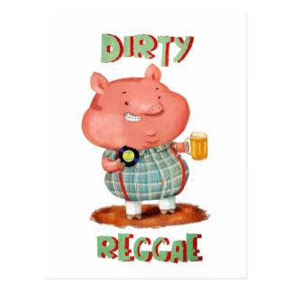 Dirty Reggae Pig Postcard