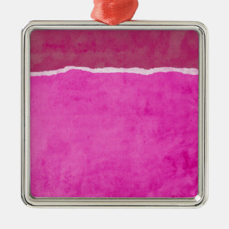 Dirty ripped pink paper metal ornament
