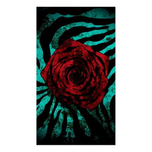 Dirty Rose  Aqua Zebra Business Cards
