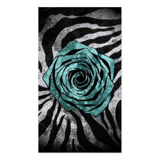Dirty Rose- Zebra Aqua Business Card Template