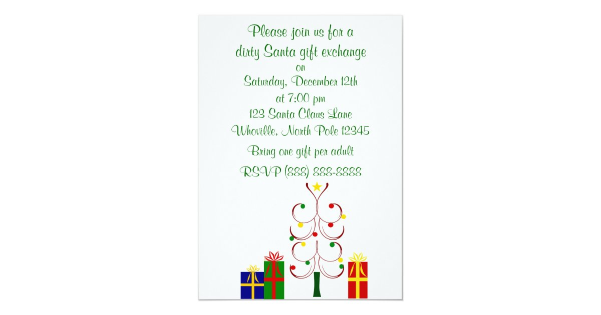 Dirty Santa Christmas Invitation | Zazzle.com