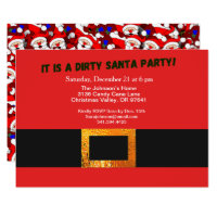 Dirty Santa Red Suit Party and Santa Pattern, ZPR Invitation