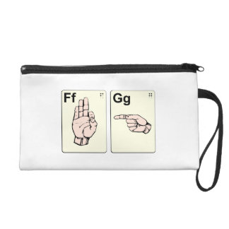 Dirty Sign Language Flash Cards Wristlet Clutches