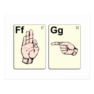 Dirty Sign Language Flash Cards Post Cards