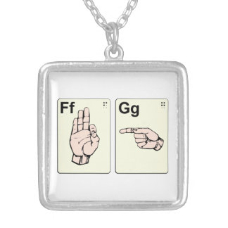 Dirty Sign Language Flash Cards Silver Plated Necklace