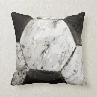 Dirty Soccer Ball Texture Throw Pillow