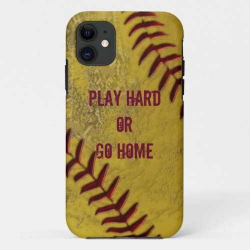 Dirty Softball iPhone Cases with YOUR TEXT Phone Case