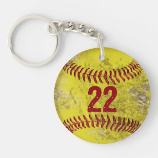 Dirty Softball Keychains PERSONALIZED Number