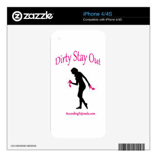 Dirty Stay Out iPhone Skin iPhone 4 Decal