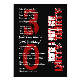 Dirty Thirty 30th Birthday Black Red You Dirty Boy Card