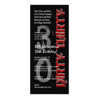 DIRTY THIRTY 30th Birthday Party Black Red Tall Card