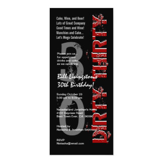 DIRTY THIRTY 30th Birthday Party Black Red Tall Personalized Invite