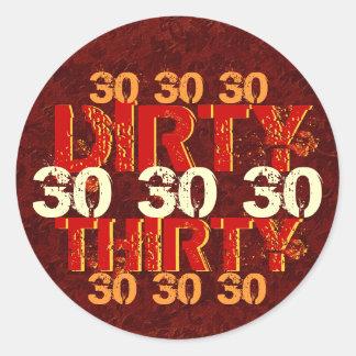Dirty Thirty 30th Birthday Party Red Orange Gold Sticker