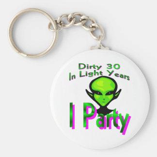 Dirty Thirty Basic Round Button Keychain