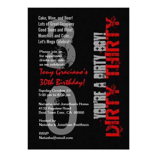 Personalized Dirty thirty Invitations – Dirty 30 Birthday Invitations