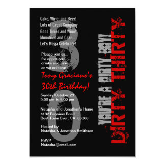 Dirty Thirty Birthday Black White Red Dirty Boy Personalized Invites