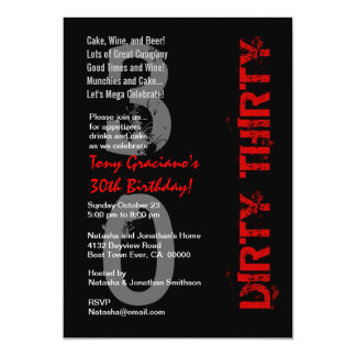 Dirty Thirty Birthday Black White Red Template 5x7 Paper Invitation Card