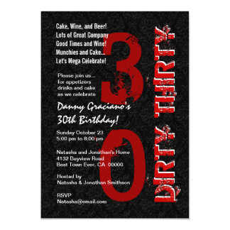 Dirty Thirty Birthday Black White Red Template G20 5x7 Paper Invitation Card
