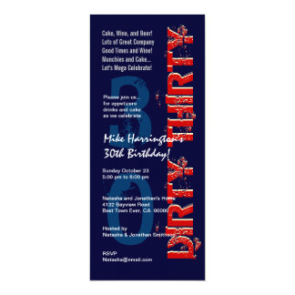 DIRTY THIRTY Birthday Midnight and Red Tall Custom Invites