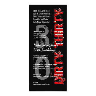 DIRTY THIRTY Birthday Party Black White Red Tall Card