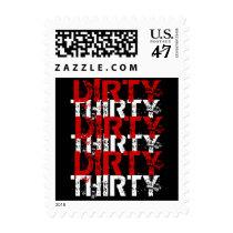 Dirty Thirty Red Black Grunge 30th Birthday Postage